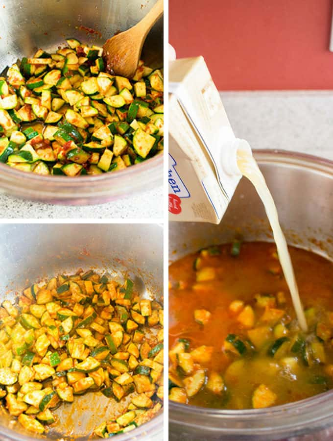 Photo collage of raw zucchini in a pot, then cooked zucchini, then chicken stock being added to the pot