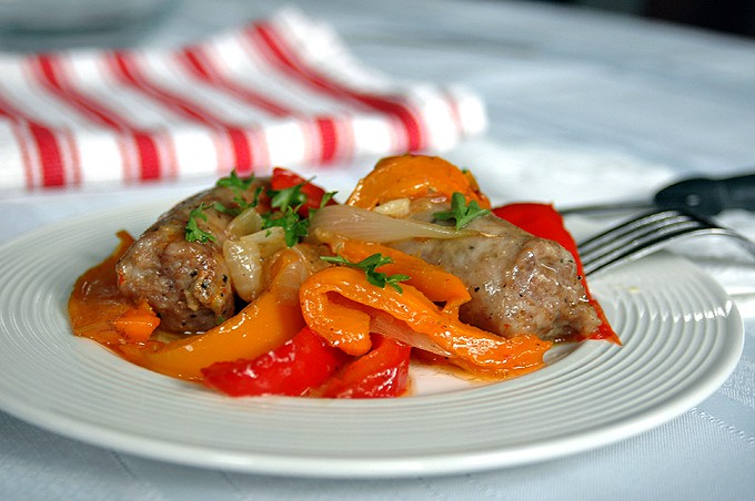 Easy Sausage and Peppers - Roast these in the oven and have dinner ready in less than an hour! The best sausage and peppers!