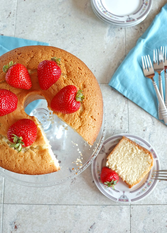 Back-to-School Pound Cake (Low Fat) - A light and delicious sour cream pound cake that's great served plain or with toppings. A yummy dessert or breakfast!