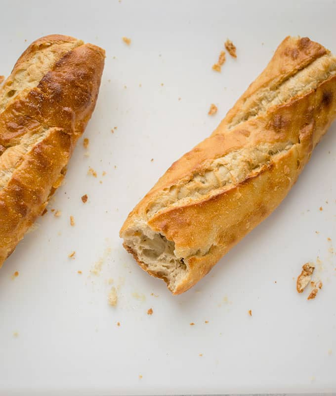 two dried baguette halves