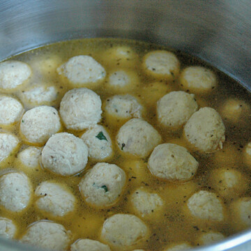 Chicken Meatball Soup cooking in a pot