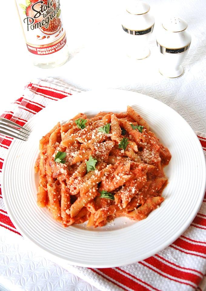Pasta alla Pomegranate Vodka with Bacon