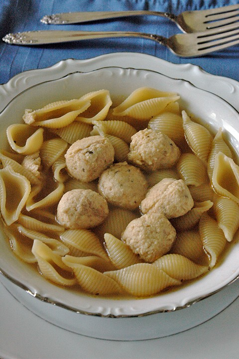 overhead view of Chicken Meatball Soup in a bowl