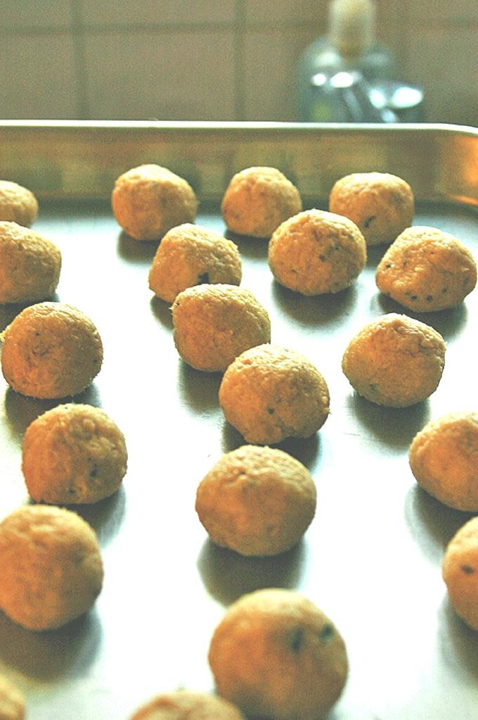 chicken meatballs on a sheet pan