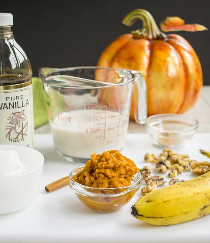 Photo of ingredients for pumpkin smoothie