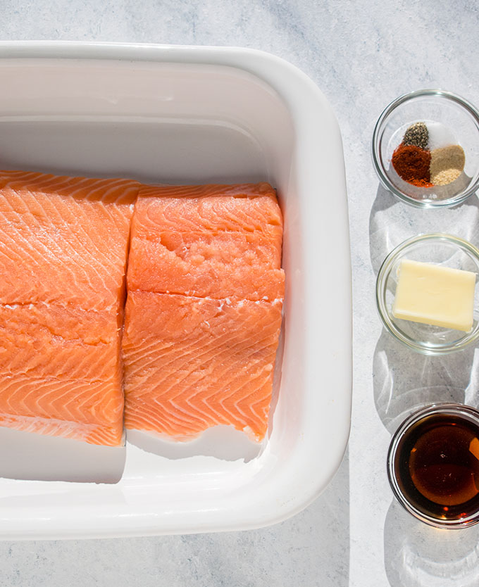 salmon, spices, butter and maple syrup for 10-minute maple-glazed salmon