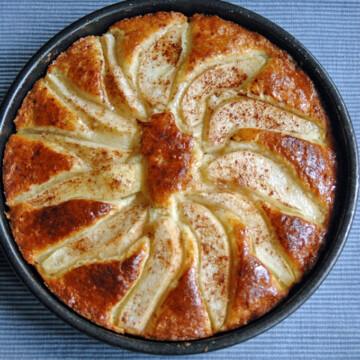 overhead view of Amaretto-Glazed Pear Shortcake