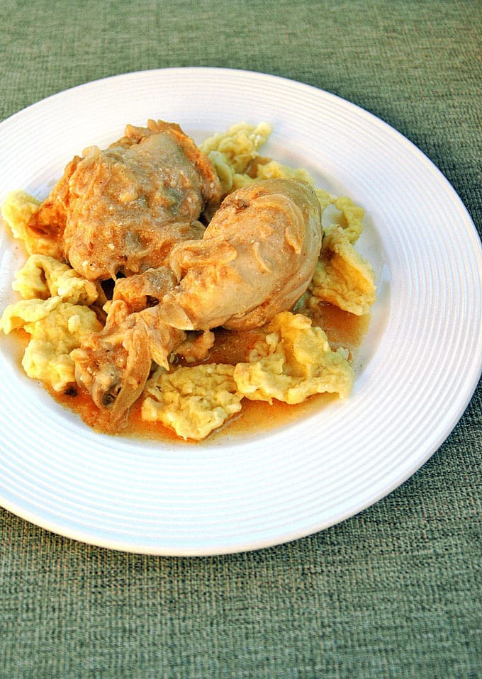 overhead photo of hungarian chicken paprikash with dumplings