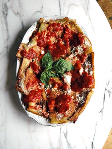 Parmesan Eggplants with Tomato Sauce on a platter