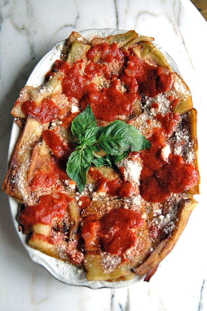 platter of Parmesan Eggplants with Tomato Sauce
