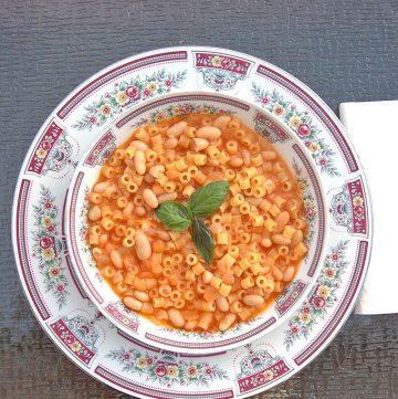 overhead view of Pasta e Fagioli in a bowl