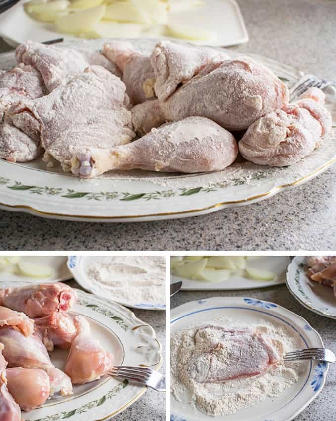Photo collage of process of flouring chicken thighs and drumsticks for Hungarian Chicken Paprikash with Dumplings