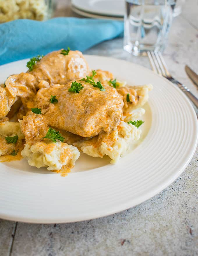 Photo of plate of Hungarian Chicken Paprikash with Dumplings