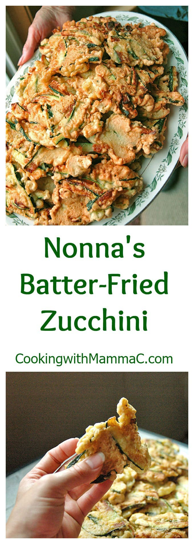 "The words ""Nonna\'s Batter-Fried Zucchini\"" separating two photos of it"