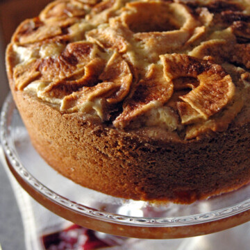 close-up of Apple Cake on a cake stand