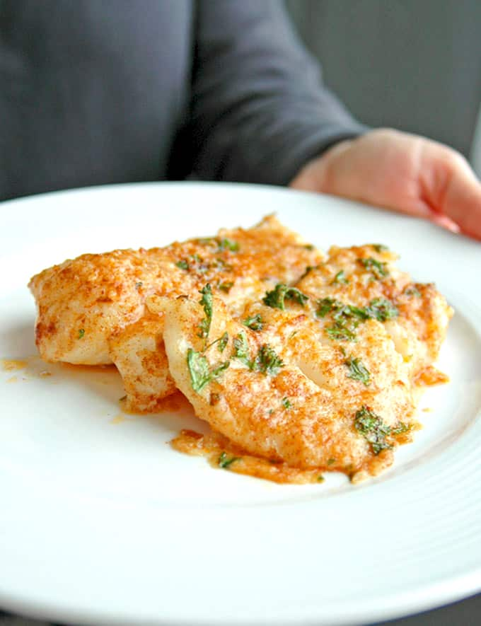 Photo of plate of Baked Cod with Parmesan and Garlic Butter (Lemon Parmesan Cod)