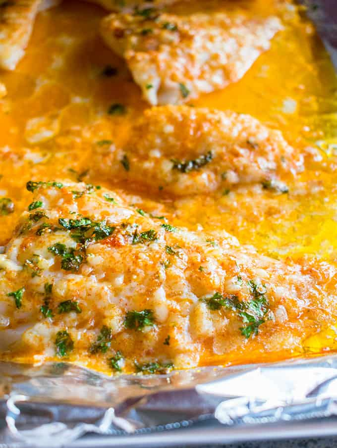 Close-up view of fish with cheese in a sheet pan of melted butter