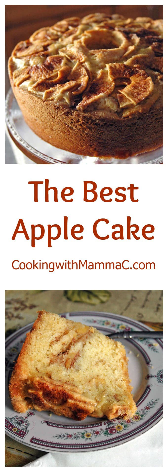 "The words ""The best Apple Cake\"" separating two photos of apple cake"