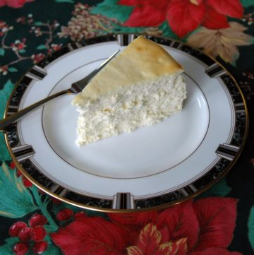 slice of Fluffy Crustless Cheesecake on a plate with fork
