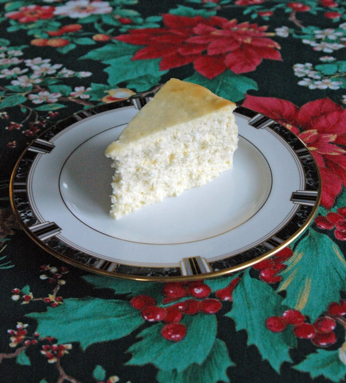 piece of Fluffy Crustless Cheesecake on a plate