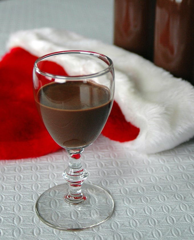 stemmed glass of chocolate drink