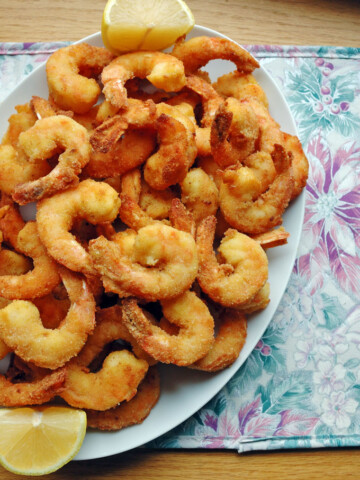 Jumbo Fried Shrimp on a platter