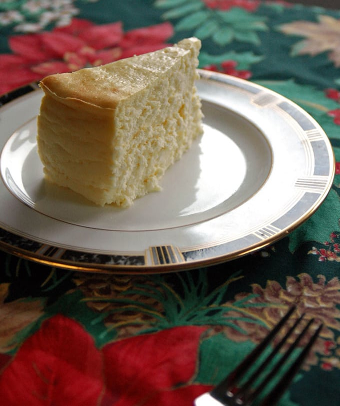 plate with a slice of Fluffy Crustless Cheesecake