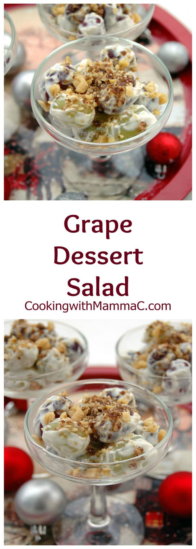 Grape Dessert Salad takes just 15 minutes and is so delicious! Grapes are mixed with a creamy vanilla dressing and topped with brown sugar and walnuts. Quick, easy and gluten free!