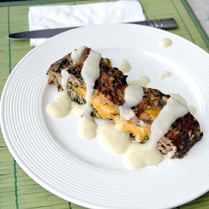 Cheddar-Stuffed-Florentine-Meatloaf-with-Creamy-Potato-Gravy