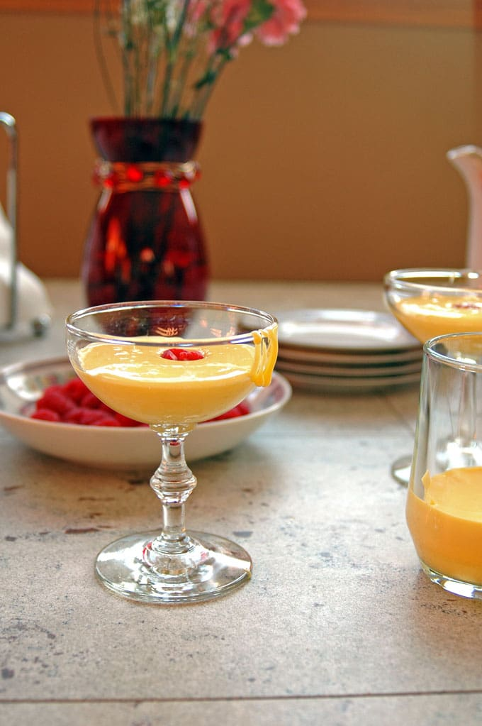 martini glass with Breakfast Zabaglione with Berries and Espresso