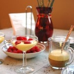 Breakfast Zabaglione with Berries and Espresso in a martini glass, bowl of berries and glass mug of espresso