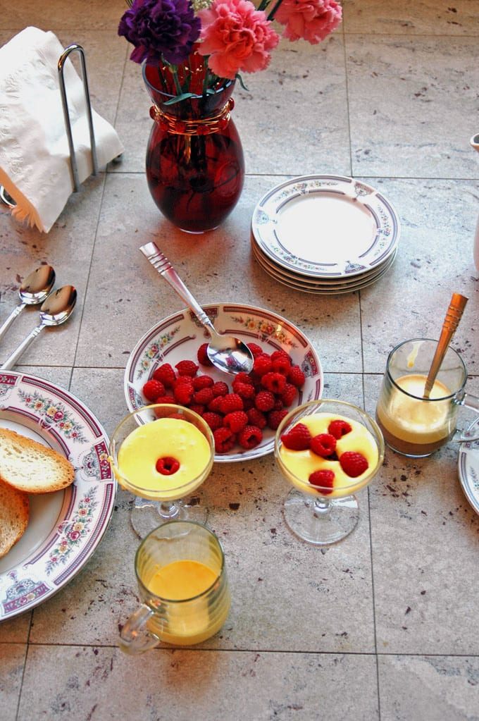 overhead view of Breakfast Zabaglione with Berries and Espresso with ingredients
