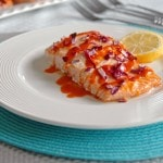Buffalo Salmon with Roasted Red Onions