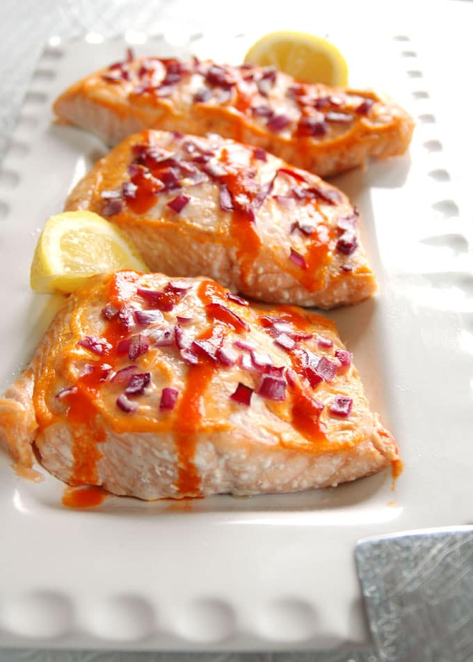 platter of Buffalo Salmon with Roasted Red Peppers
