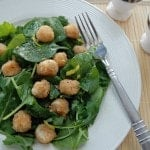 Easy Breaded Scallops over Salad with Lemon Vinaigrette
