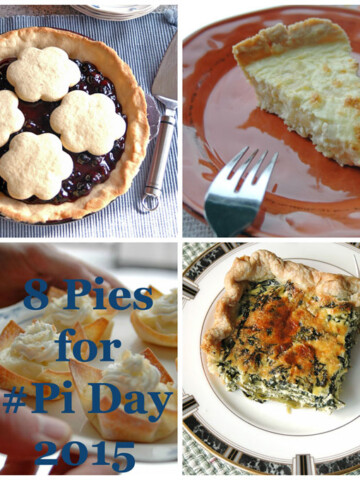 """Collage of pies, the words """"8 Pies for Pi Day"""""""