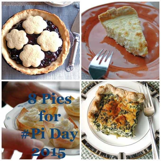 "Collage of pies, the words ""8 Pies for Pi Day\"""