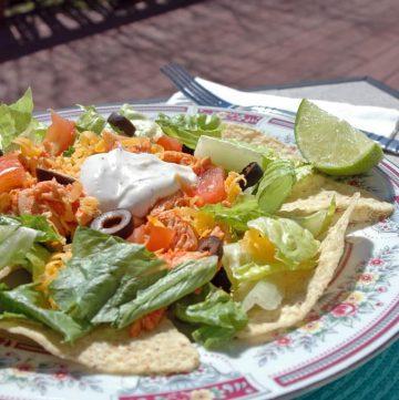 Buffalo Chicken and Nacho Salad on a plate
