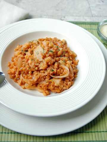 One Pot Farro with Cauliflower and Onions in a bowl