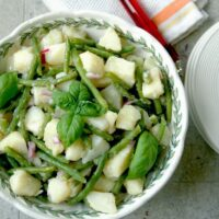overhead view of Italian Potato Salad with Green Beans