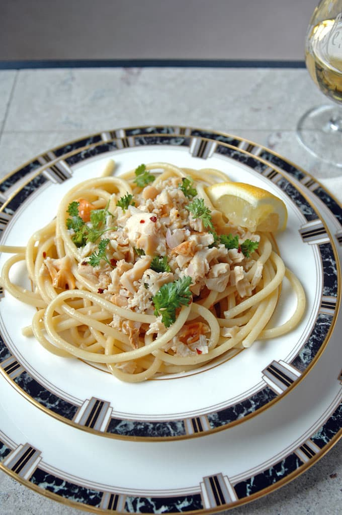 close-up of Bucatini with Clams and White Wine in a bowl