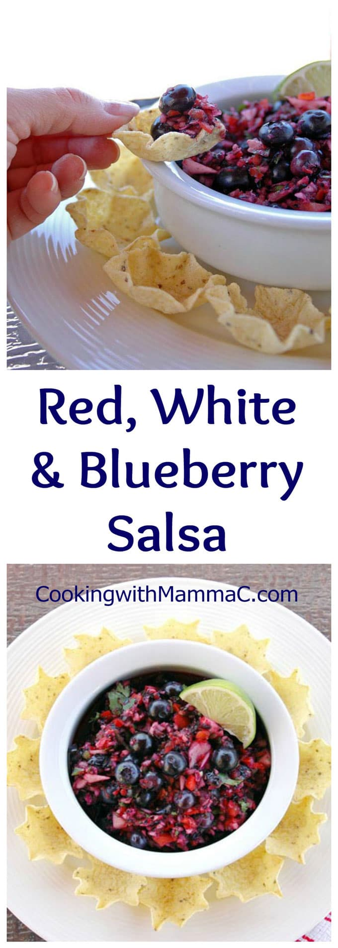 This Red, White and Blueberry Salsa is sweet, savory and delicious! Plus, it's vegan and gluten free. I dare you to stop eating it!