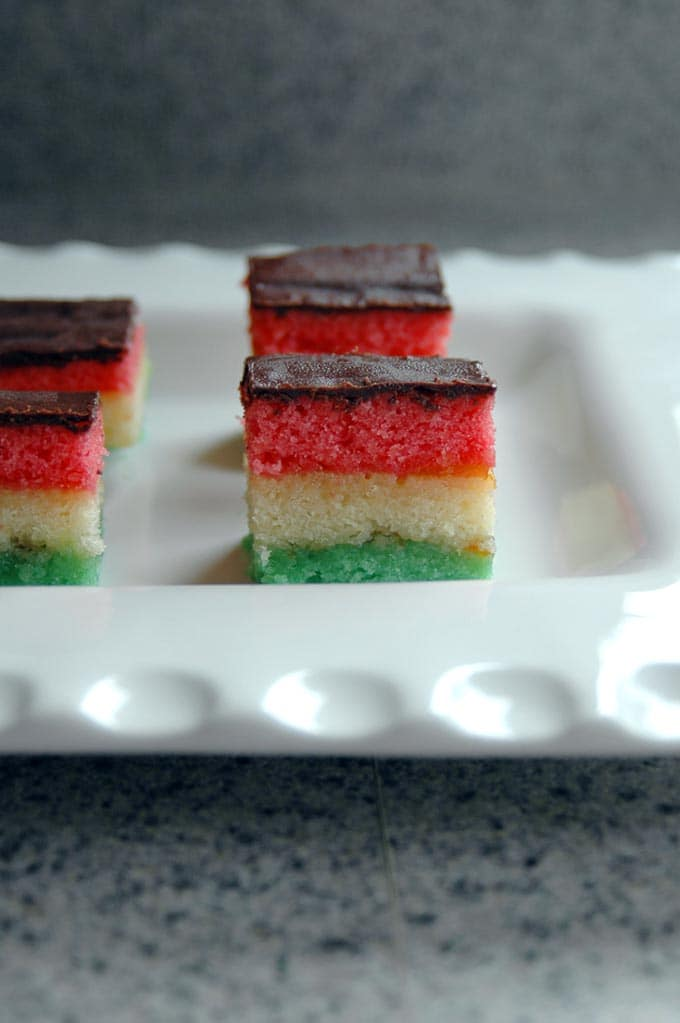 close-up of rainbow cookies