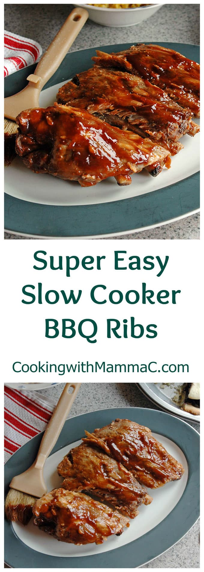 two photos of Super Easy Slow Cooker BBQ Ribs