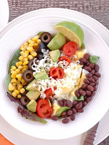 overhead view of Southwest Salad with Catalina Lime Dressing