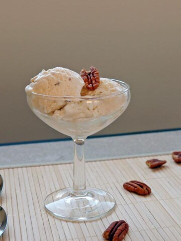 No-Churn Salted Butter Pecan Ice Cream in a martini glass, pecans and spoons