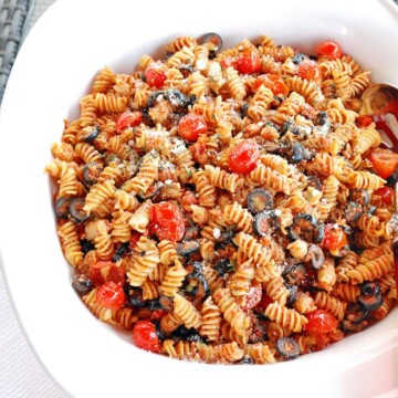 overhead view of a big bowl of pasta salad