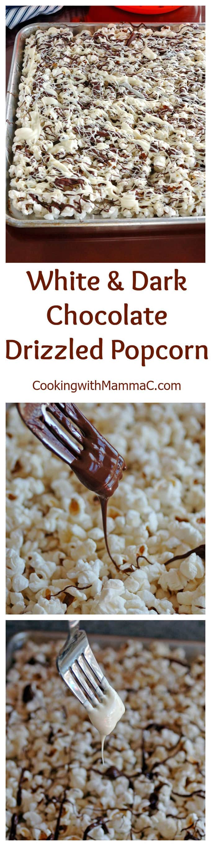 photo collage of white and dark chocolate drizzled popcorn