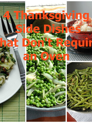 """Photos of food with the words """"4 Thanksgiving Side Dishes That Don't Require an Oven"""""""
