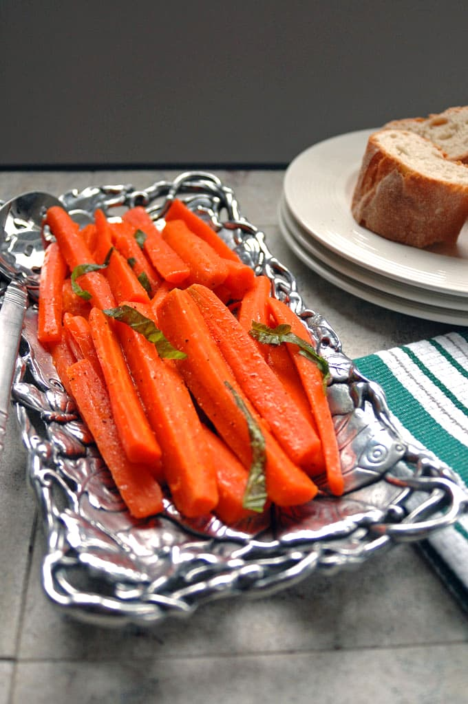 Italian Carrot Salad with Basil on a platter